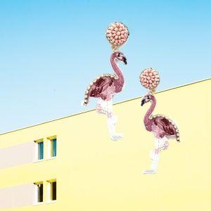 Beaded Pink Flamingo Earrings